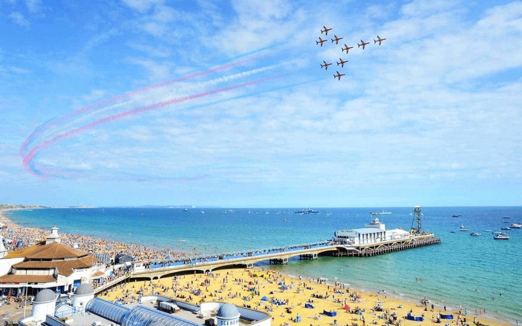 Red Arrows in the sky at Bournemouth Air Show