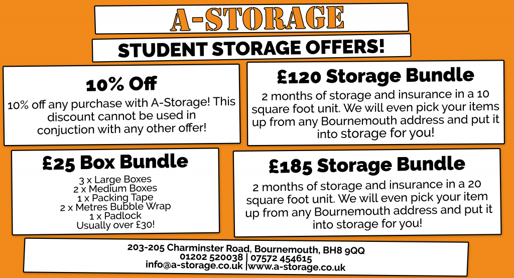 Student Storage in Bournemouth: 4 Great offers to save you money!